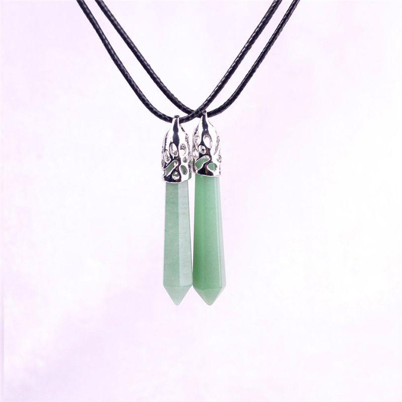 Green Aventurine Jade Pillar Stone Necklace Natural Crystal Hexagonal Gemstone Amazonite Healing Point Prosperity Confidence Witch Necklace