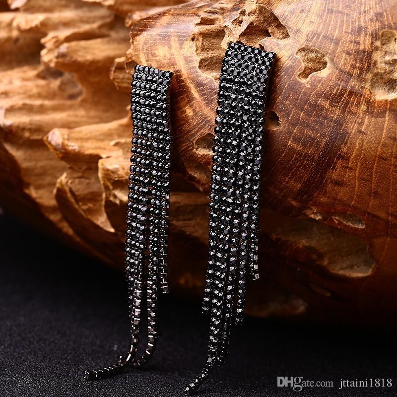 Siyah Tam Rhinestone Vintage Püskül Küpe Kadınlar Için Bırak Küpe Kaliteli Küpe Lüks Takı Uzun Dangle Küpe # E019