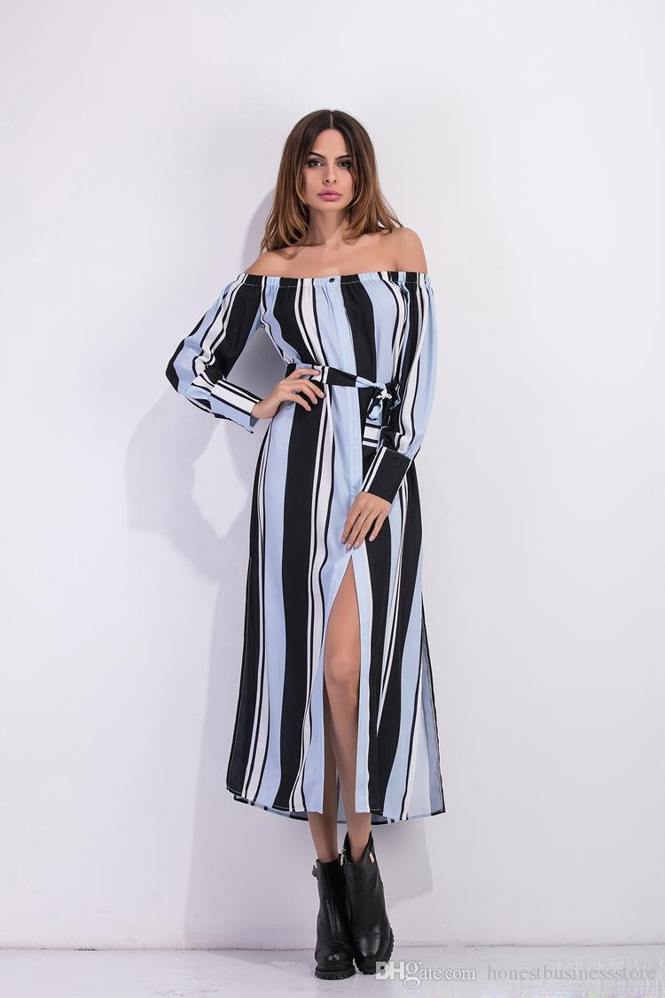 Hot Women Clothing Personality Bare Shoulder Vertical Striped Belt ...