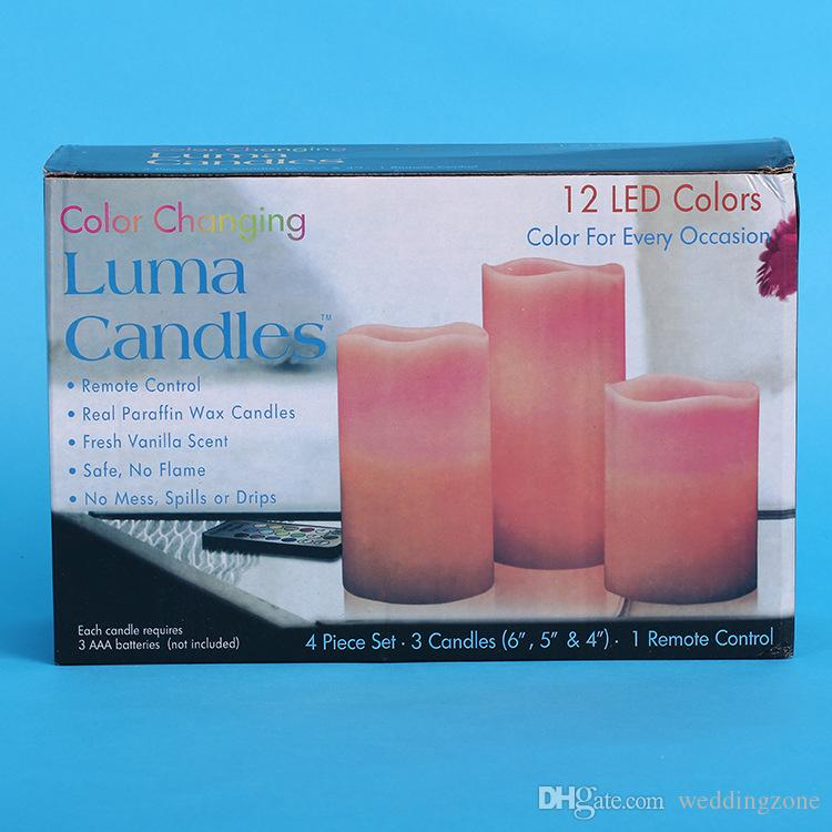4 in 1 Waterproof Electronic LED Candle 12 LED Colors For Xmas/Wedding Party Flameless Flickering Tea Light