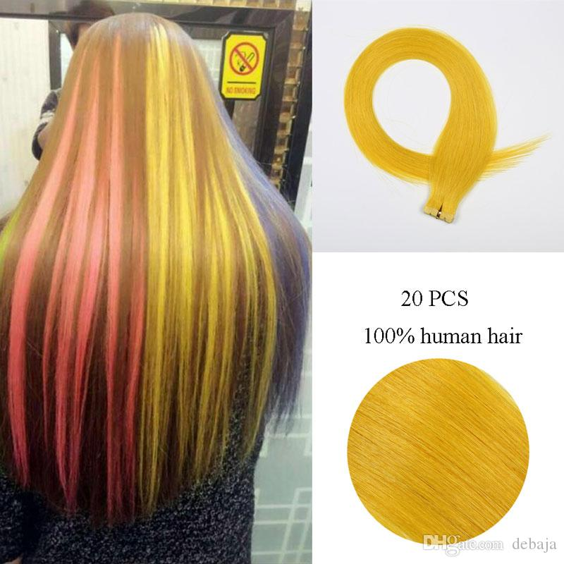 Yellow Straight Tape In Hair Extension 100 Brazilian Human Remy