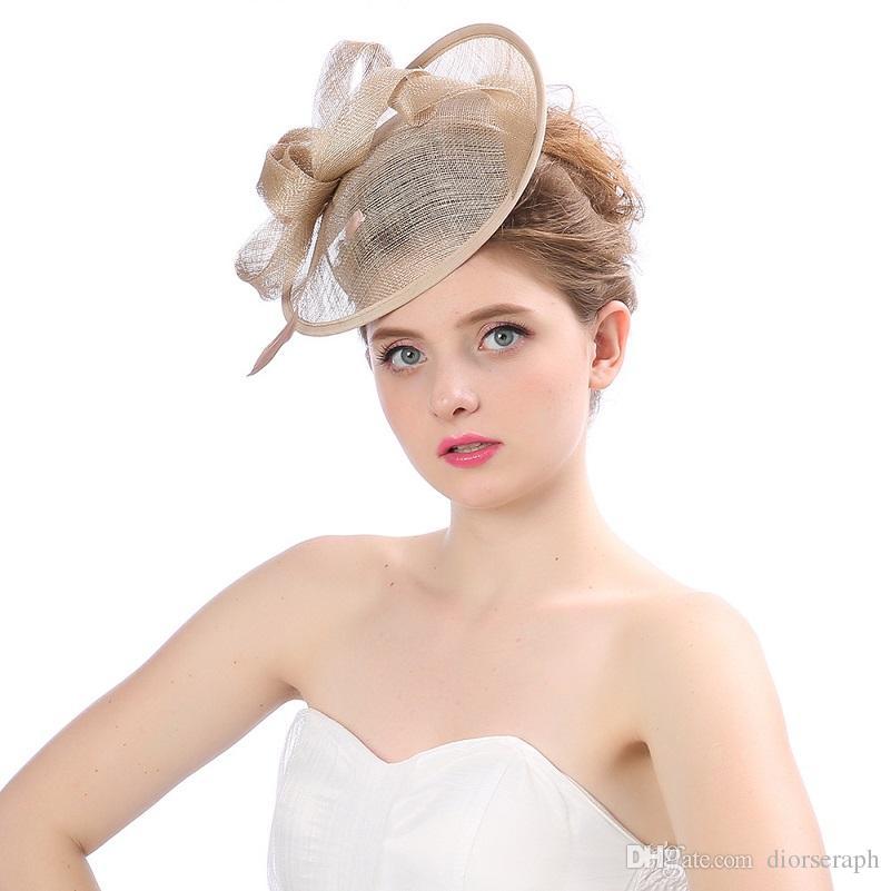 2017 Nueva Boda Nupcial Sombrero de La Vendimia Fascinator Hecho A Mano de gasa de Lino Sombrero de La Flor de La Señora Elegante Tocado Del Partido Accesorios Para el Cabello