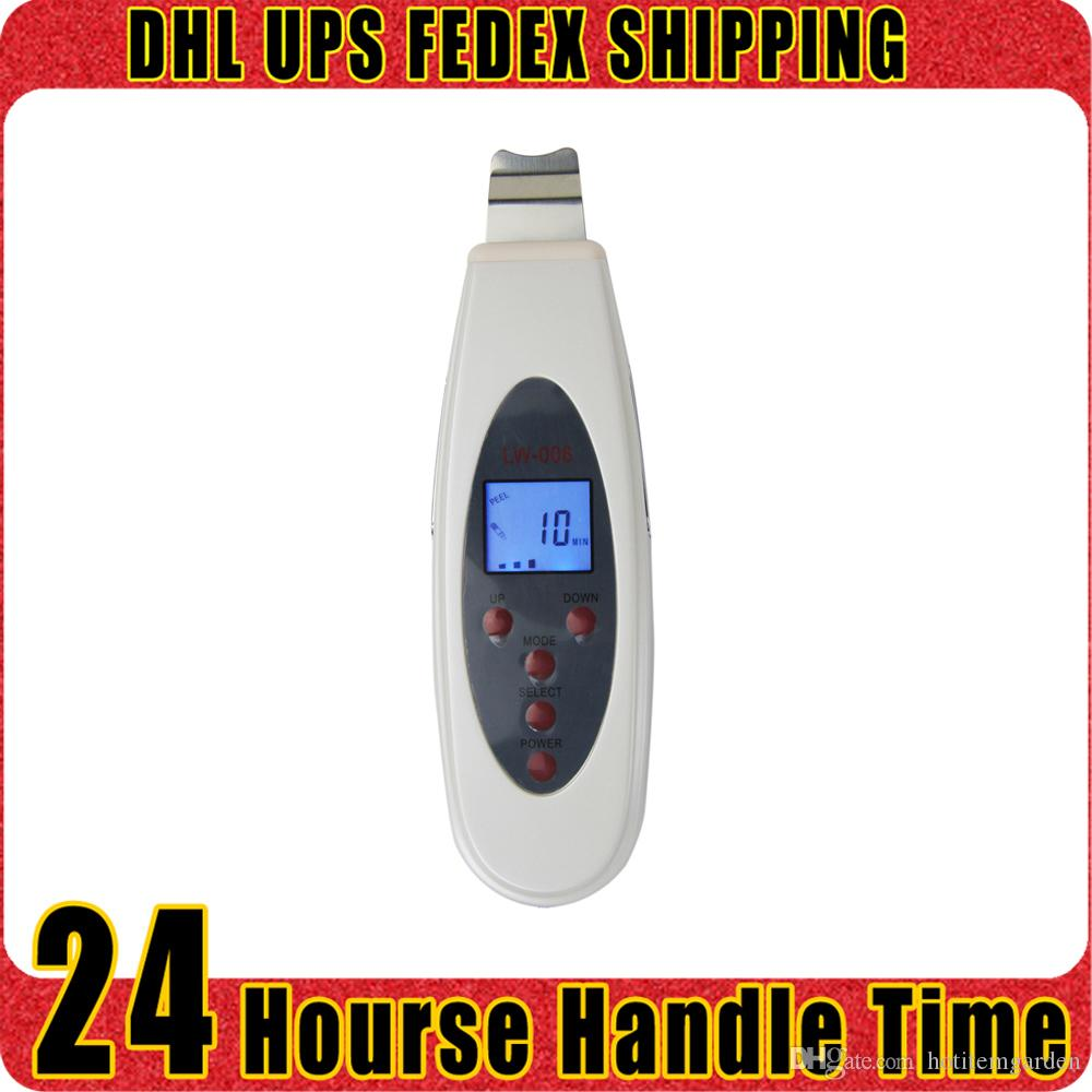 Handheld Facial Scrubber Massager Ultrasonic LCD Digital Peeling Skin Eliminar arrugas Rejuvenecimiento de la piel Home Salon Use Beauty Machine