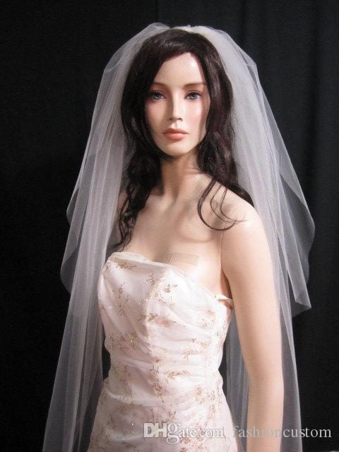 3M Cathedral Length White Ivory Champagne Two layer Wedding Veil Cut Edge With comb Bridal Veil 919