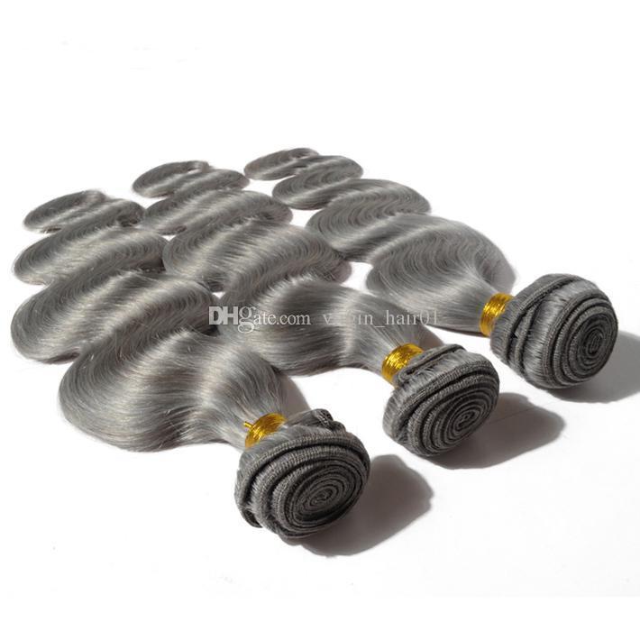 Nuovo arrivo 9a grado malese onda del corpo del corpo grigio tessuto argento grigio corpo corpo estensioni capelli umani capelli vergini capelli vergini in vendita