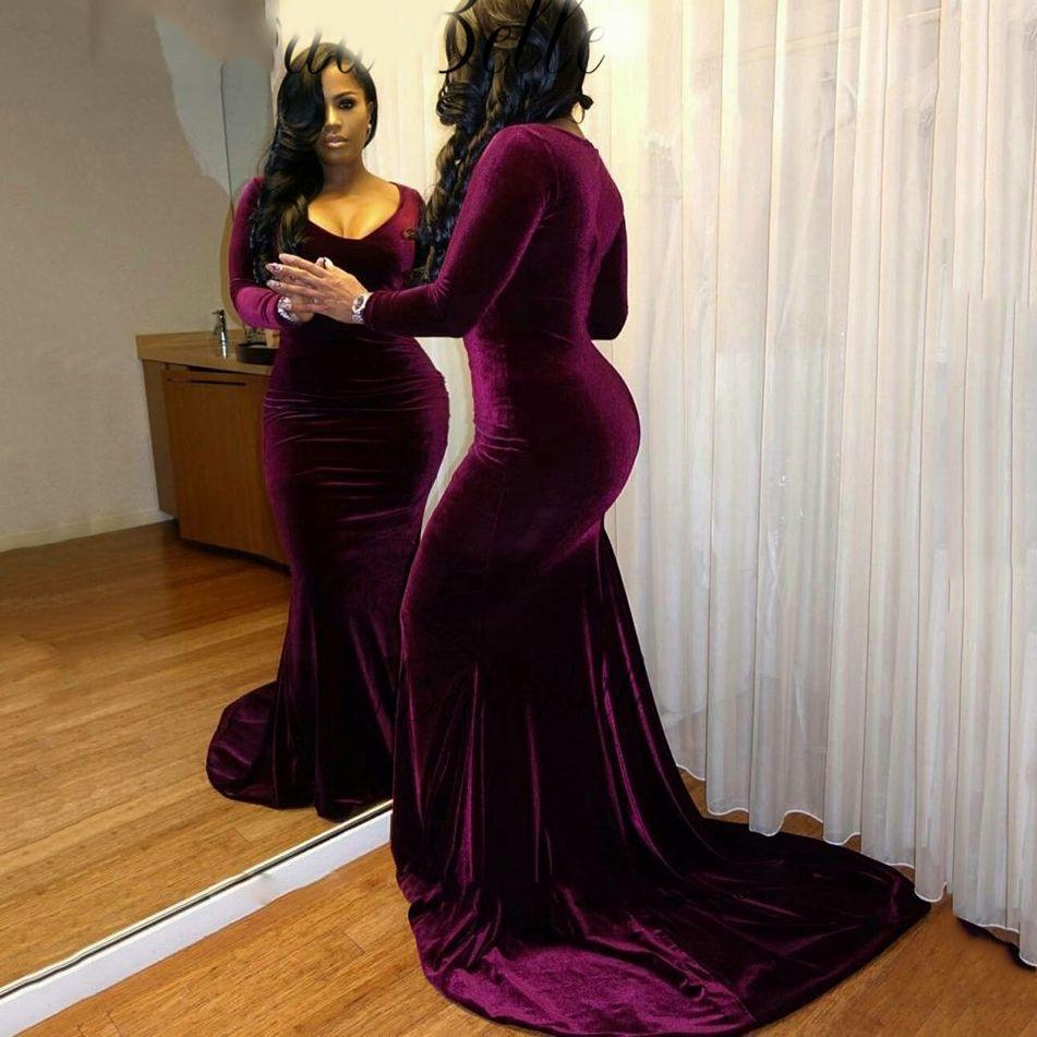 2d552a6fad03 Acquista Plus Size Maniche Lunghe In Velluto Viola Prom Dresses 2017  Mermaid Sexy Scollo A V Nero Girls Formal Dress Court Train Abiti Da Sera  Lunghi A ...