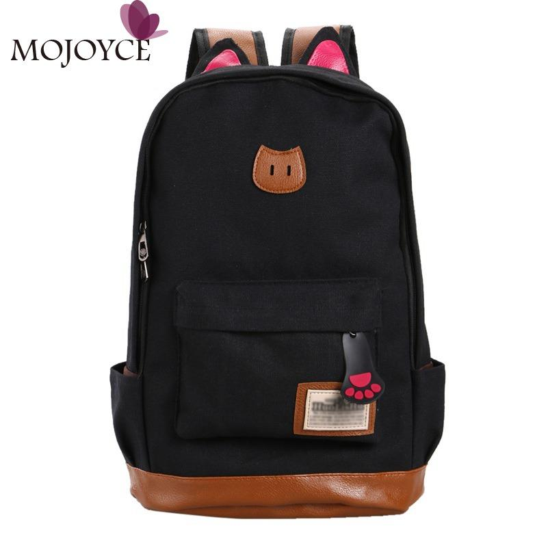 4fa051929340 Wholesale 2016 Women Canvas Backpacks For Teenage Girls School Bags Cute  Cat Ear Backpack Feminine School Book Bags Sac A Dos Cool Backpacks Travel  Backpack ...