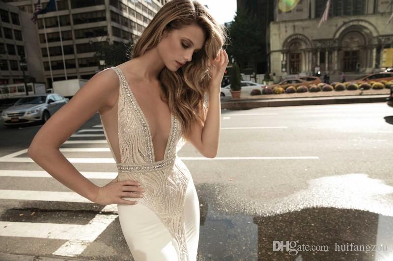 Berta Vintage Mermaid Wedding Dresses Plunging Neckline Lace Beads Pearls Bridal Gowns Sweep Length Sequins Backless vestidos de novia