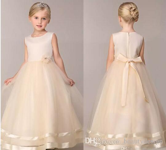 08d4cba587e Cheap Girls Party Dresses 2017 New Cute Summer Spring Flower Girls  Dresses  A Line Floor Length Wedding Dresses For Girls MC0683 Young Girls Dresses  Baptism ...
