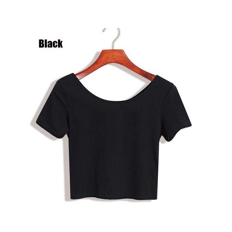 8098096660e Wholesale Drop Shipping Summer Sexy Crop Top Short Tee T Shirt Sleeve Women  Tops Basic Stretch T Shirts Basic Solid Color Easy Match T Shirts Shop  Online Of ...
