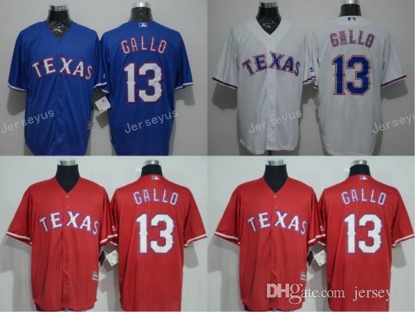 reputable site 591da ff292 mens texas rangers 13 joey gallo 2014 red jersey