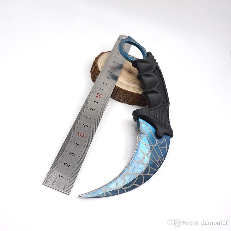Counter Strike CS GO Color Titanium Skin Karambit Knife Csgo Fixed Blade Stainless Steel Survival Knife Outdoor Traning Rescue EDC Tools