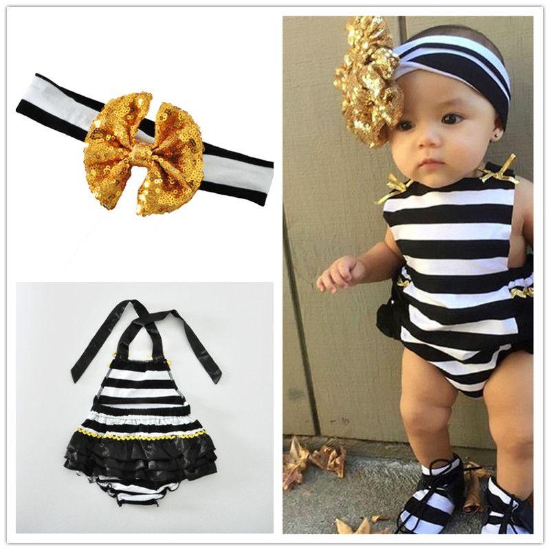 5ab4606f2dd0 Baby Girls Halterneck Striped Romper Set Sequins Stripe Headband ...