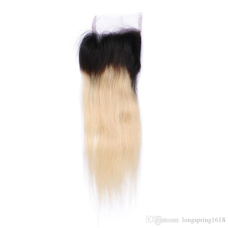 9A Blonde Ombre Hair With Closure Straight Human Hair Bundles With Closure Free Middle Three Part Peruvian Virgin Hair With Closures