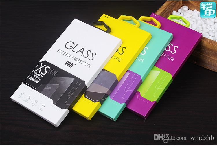 Färgrikt tempererat glasskärmsskyddsfilm Skyddsskyddsbox för Samsung Note3 S5 iPhone 7 6 6s 4.7 Telefontillbehör