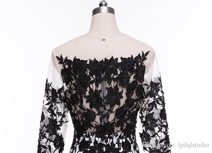 Sexy White and Black Evening Dresses Illusion Sheer Neckline Long Sleeves Chiffon Tulle Floral Applique Sweep Train Prom Dress Plus Size
