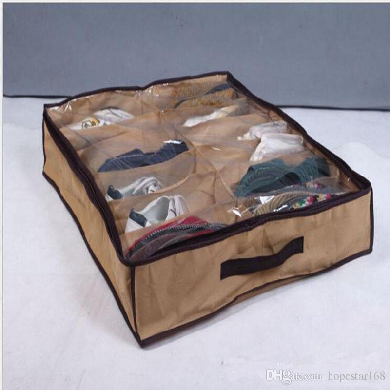Ana Sıcağı Çevre Dostu Bezi Kumaş Ayakkabı Depolama Organizatör Tutucu Ayakkabı Organizer Kutu Dolap 67 * 56 * 15cm kutu ues