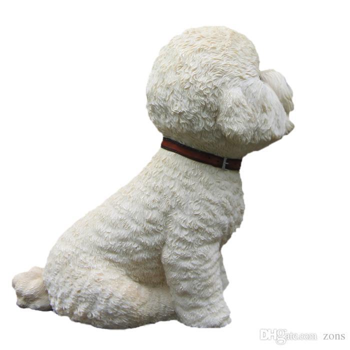 Grand chien Bichon Frise Statue Figurine Collection Figure Figure Sculpté à la main Chien en résine pour Table Decor
