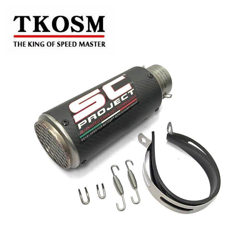 Tkosm 2017 نموذج جديد جودة عالية الفولاذ الصلب 60 ملليمتر 51 ملليمتر العالمي للدراجات النارية sc العادم ماسورة العادم الخمار الليزر مع ملصقا