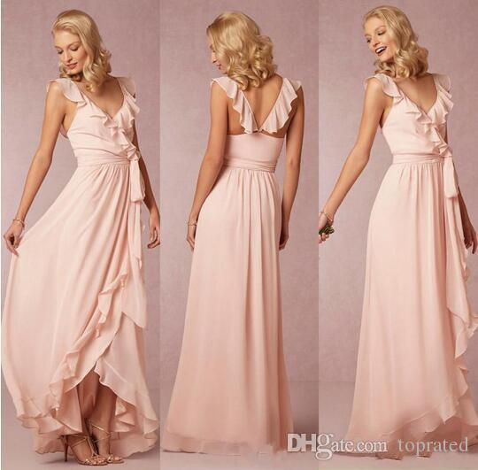 Bohemian Cheap Long Bridesmaid Dresses Chiffon A Line