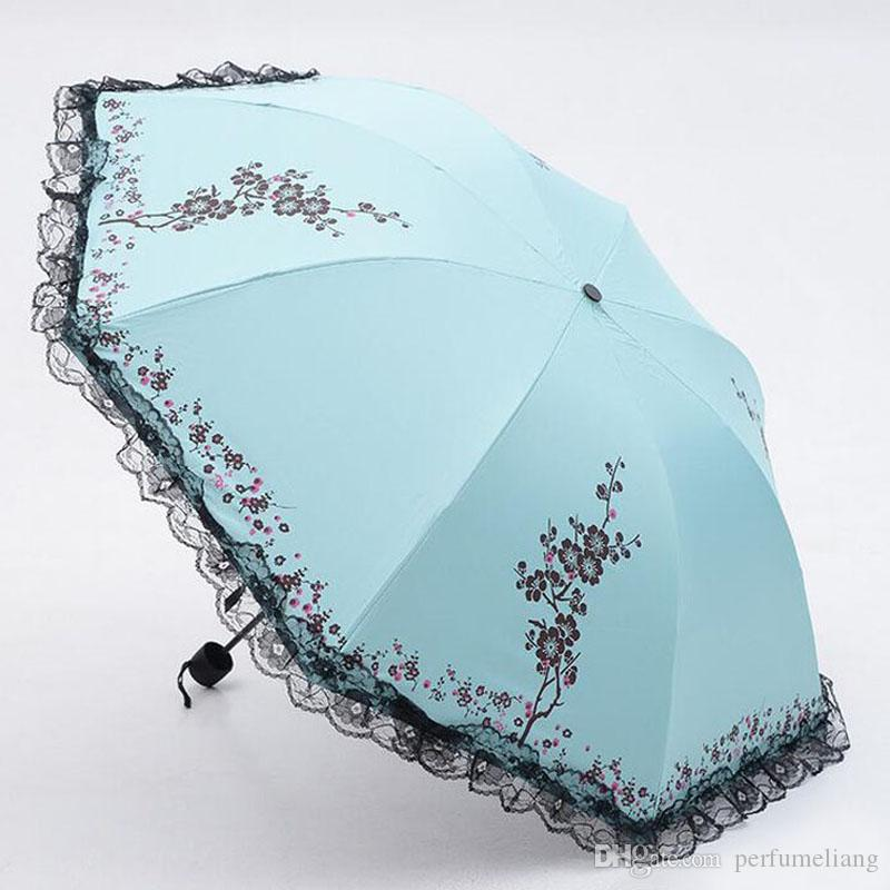 Fashion Ladies' Summer Folding Sun Rain Umbrella Black Coating Anti-UV Women Lace Flower Parasol Free Shipping ZA3542