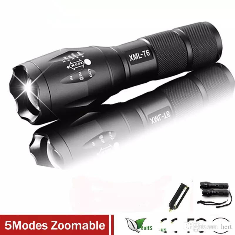 waterproof newestE17 XM-L T6 3800LM Tactical cree led Torch Zoomable cree LED Flashlight Torch light for AAA or 1xRechargeable 18650 battery