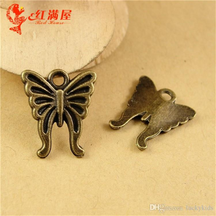 16*15MM Antique Bronze Vintage Retro butterfly charm beads accessories of mobile phone , animal shaped jewelry, animal pendant