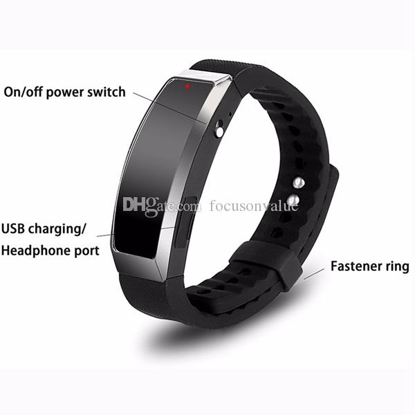 Wearable Voice Recorder 8GB Wristband Audio Sound Recorder Mini Rechargeable Bracelet Dictaphone with mp3 player in retail box