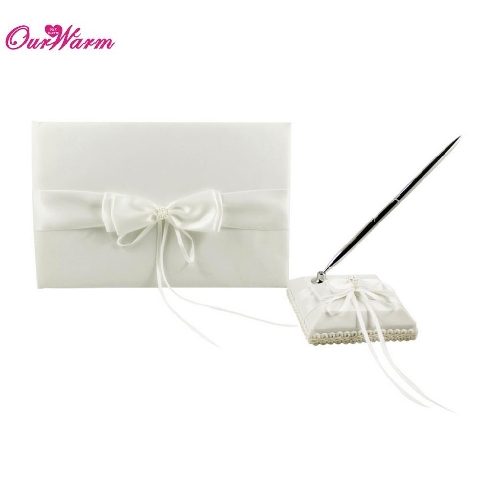 Ivory Wedding Guest Book Pen Set With Satin Bows Signature Book For ...