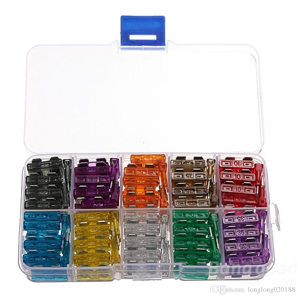 Kit de fusibles de coche de cuchillas de 100 piezas 2A 3A 5A 7.5A 10A 15A 20A 25A 30A 35A