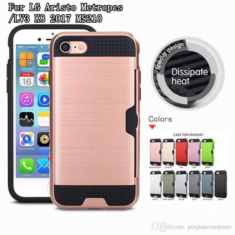 big sale b7f3f 8a88a For Iphone 7 PLUS LG Aristo Metropcs V3 LV3 MS210 K8 2017 Armor Hybrid Case  Brushed Dual Layered Shockproof Cover Credit card slot