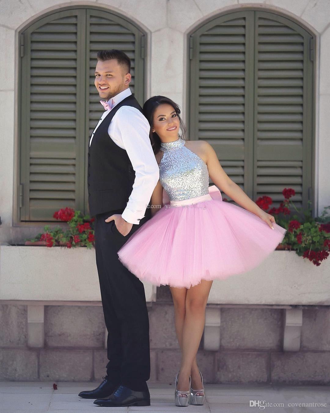 Sparkly Sequins Silver и розовые короткие домохозяйственные платья высокой шеи пухлые юбки коктейль платье арабские индийские выпускные платья
