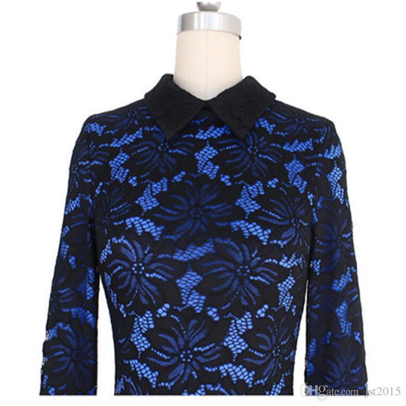Vfemage Womens Elegant Floral Lace Colorblock Off hombro formal Party Cocktail envoltura delgada vestido ajustado Bodycon