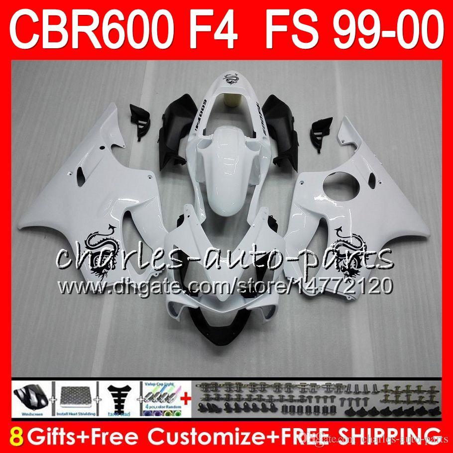 8Gifts Bodywork For HONDA CBR 600 F4 99-00 CBR600FS FS gloss white 30HM8 CBR600 F4 1999 2000 CBR 600F4 CBR600F4 99 00 Fairing Kit