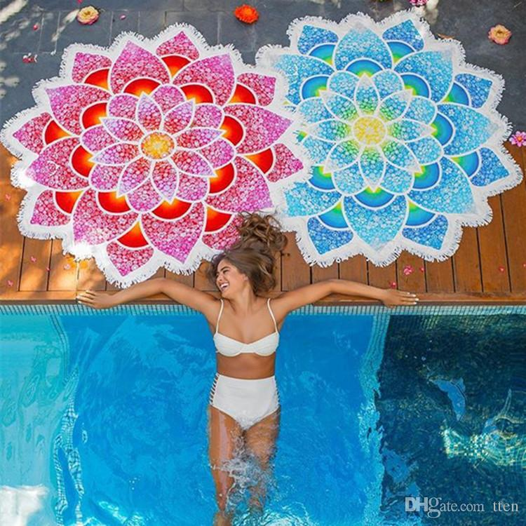 Lotus Flowers Thin Rayon Beach Towel Yoga Mat Bath Towels