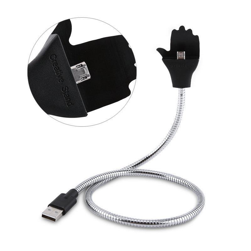 Flexible Metal USB Data Charging Cable Mobile Phone Stand Holder Bracket for Android