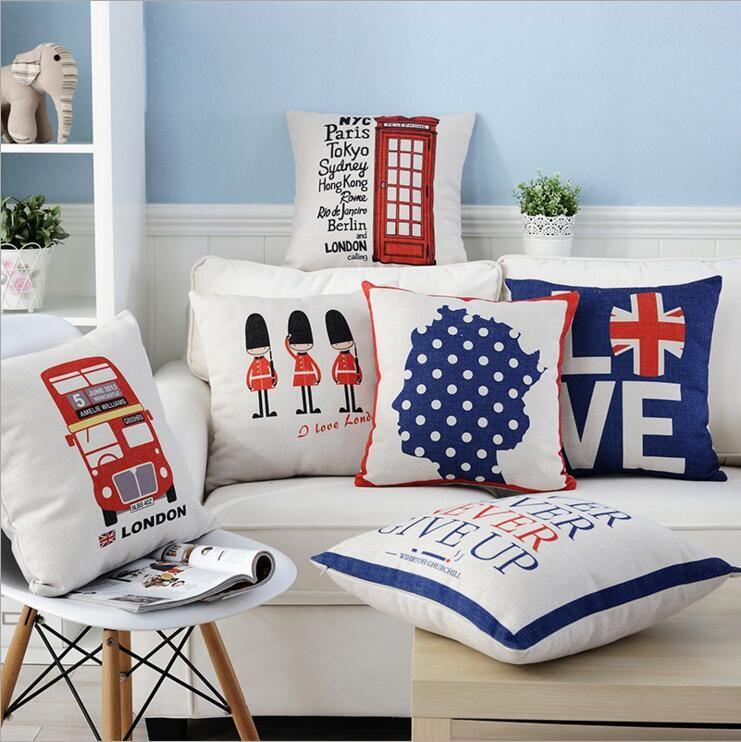 London Royal Guard Cushion Cover Euro Pillow Case Union Jack Funda
