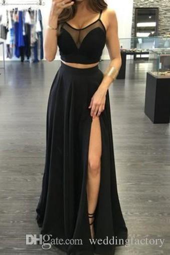 2019 Sexy Duas Peças Prom Dress Spaghetti Straps Sheer Neck Preto Chiffon Longo Formal Evening Vestidos de Festa com Alta Dividir Até O Chão