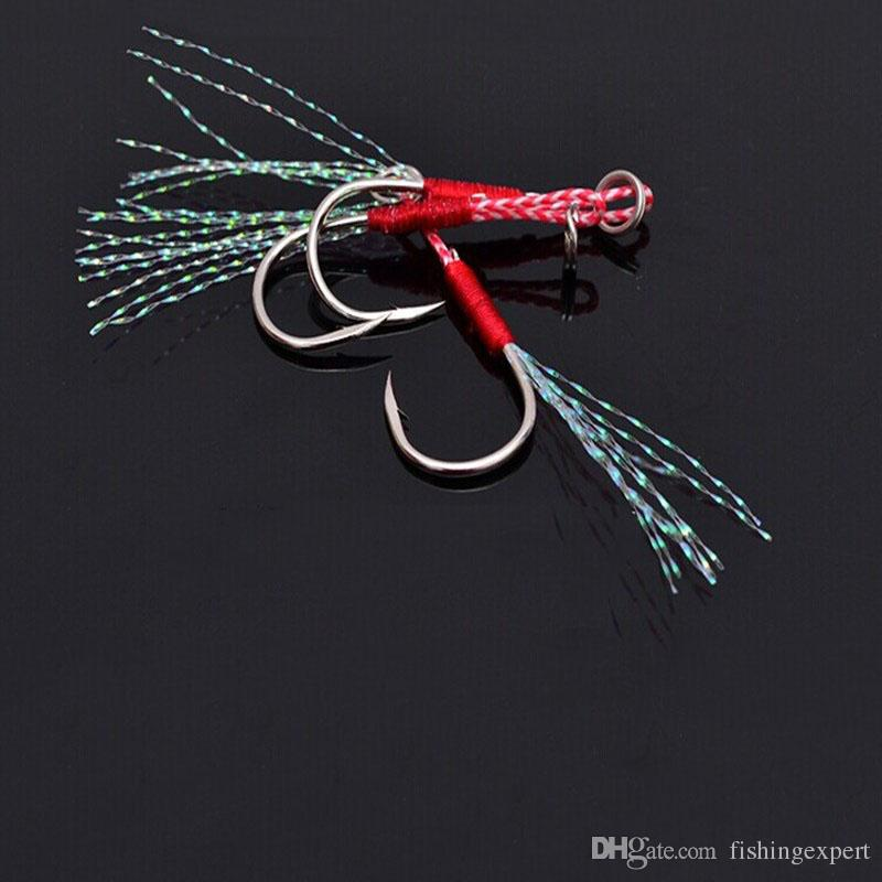 10 # -20 # Jigs Fishing Hook Ganchos de púas de acero de alto carbono o Super Sharp Trolling Gancho de manivela de pesca de agua salada