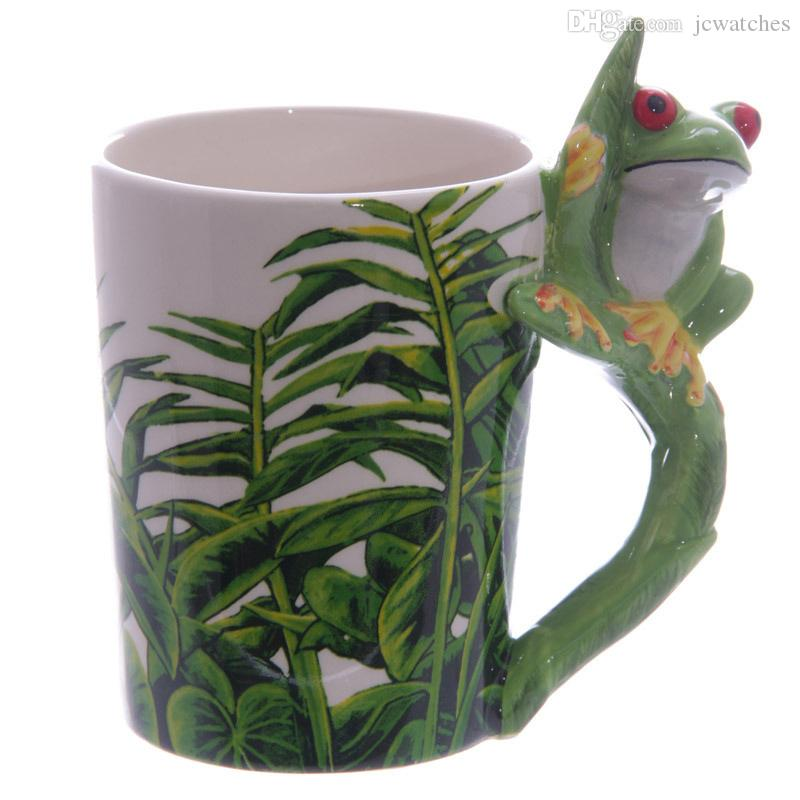 7 Style 3D Animal Shape Mugs Panda Frog Woodpecker Parrot Dolphin Penguin Shaped Drinkware Ceramic Coffee Milk Tea Cups with Handle