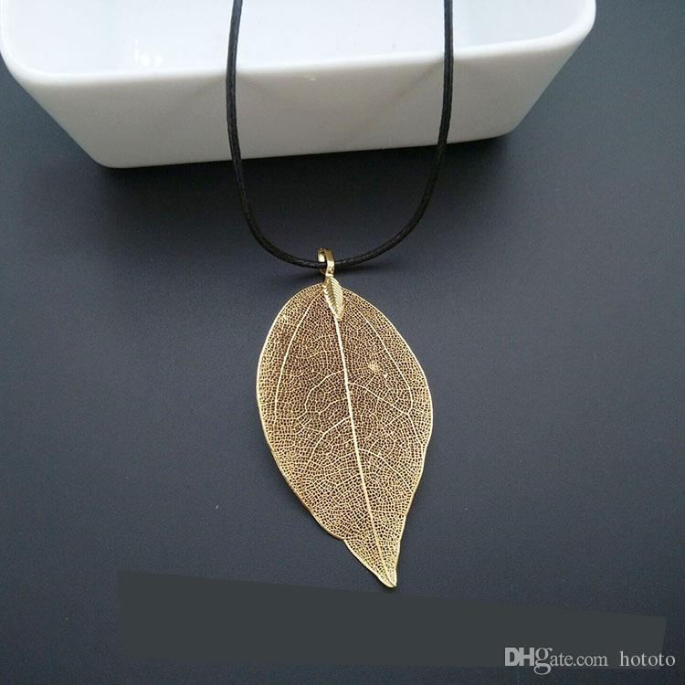 Wholesale new real leaf romantic trendy accessories pendant wholesale new real leaf romantic trendy accessories pendant necklaces gold plated leaf pendant jewelry party elegant fashion golden necklace gold name aloadofball Image collections