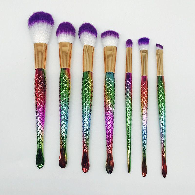 Makeup brushes Set Oval Make Up Brush Kit Colorful Mermaid Handle brushes Pro Foundation Powder Cream Blush Fish Tail Brush Kit + Gift