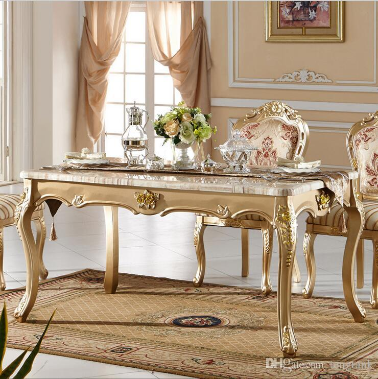 Antique Style Italian Dining Table, 100% Solid Wood Italy Style Luxury Marble  Dining Table Set P10087 Dining Table Dinner Table Online With  $1608.05/Piece ...
