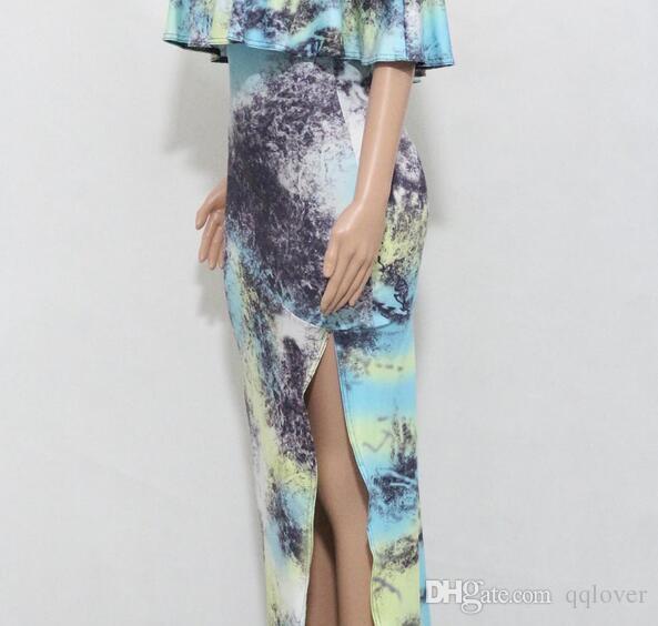 Frühling Sunmmer neueste gekräuselte Kragen Seite hoch Split Splash-Tinte Druck sexy langes Kleid asymmetrische dünne Partykleid