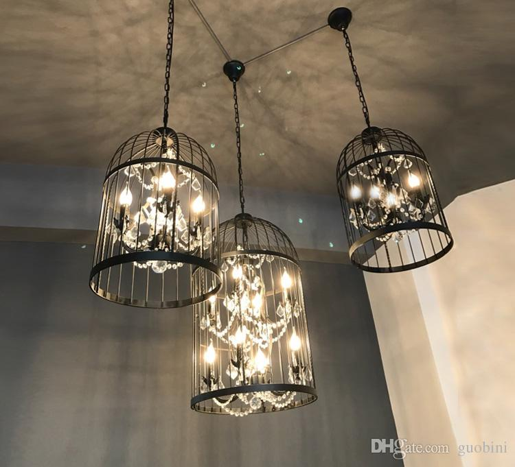 Loft vintage american rural creative chandelier clothing store loft vintage american rural creative chandelier clothing store restaurant iron pendant light crystal decorate birdcage pendant lamp modern pendant lamp mozeypictures Images