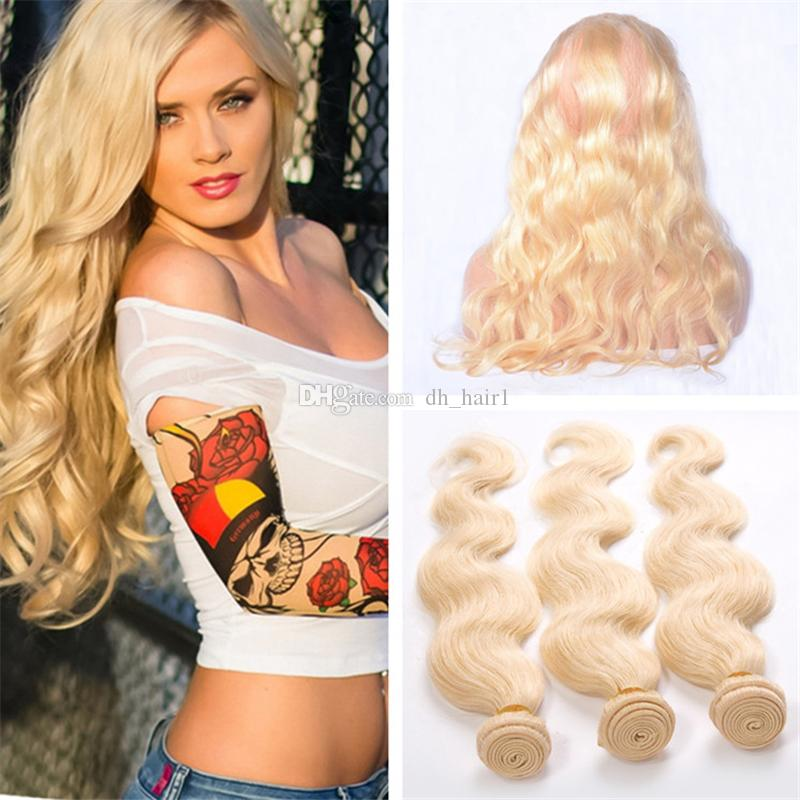 8A Platinum Blonde Virgin Peruvian Body Wave Human Hair Weaves With 360 Lace Frontal Closure Pre Plucked 360 Frontal With Bundles