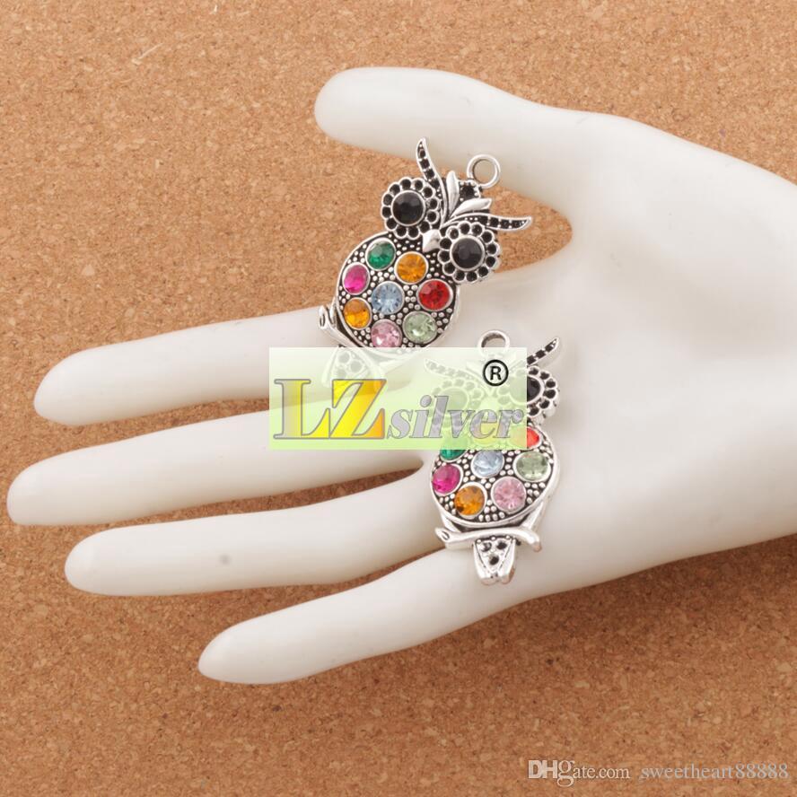 Coloré cristal hibou animaux charmes / Hot Antique Silver Pendentifs 22x47mm L1598 résultats de bijoux Composants LZsilver