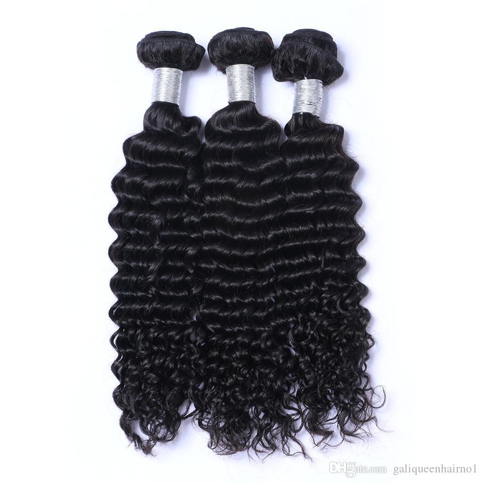 البرازيلي عذراء الشعر موجة عميقة شعر الإنسان ينسج اللون الطبيعي لحمة مزدوجة 100 جرام / حزمة 3 قطعة / الوحدة الشعر
