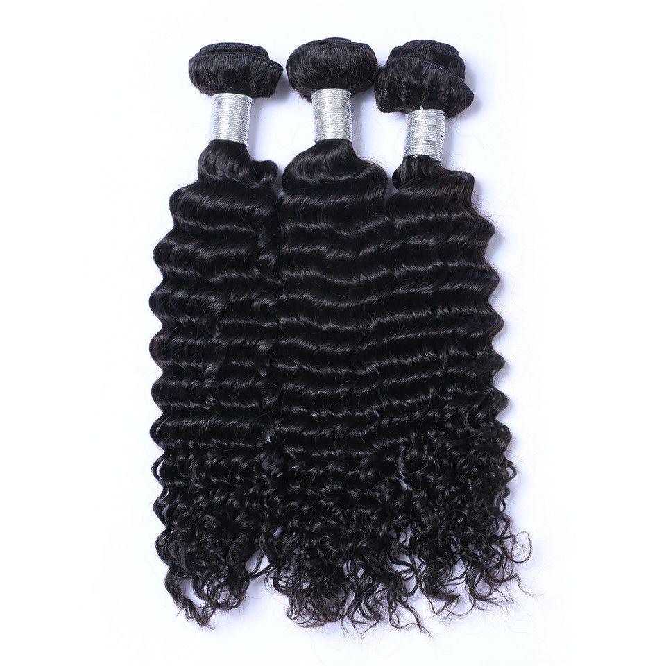 البرازيلي موجة عميقة عذراء الشعر البشري ينسج مع 4x4 الدانتيل إغلاق أمامي ابيض عقدة 100 جرام / جهاز الكمبيوتر اللون الطبيعي مزدوج اللفت الشعر