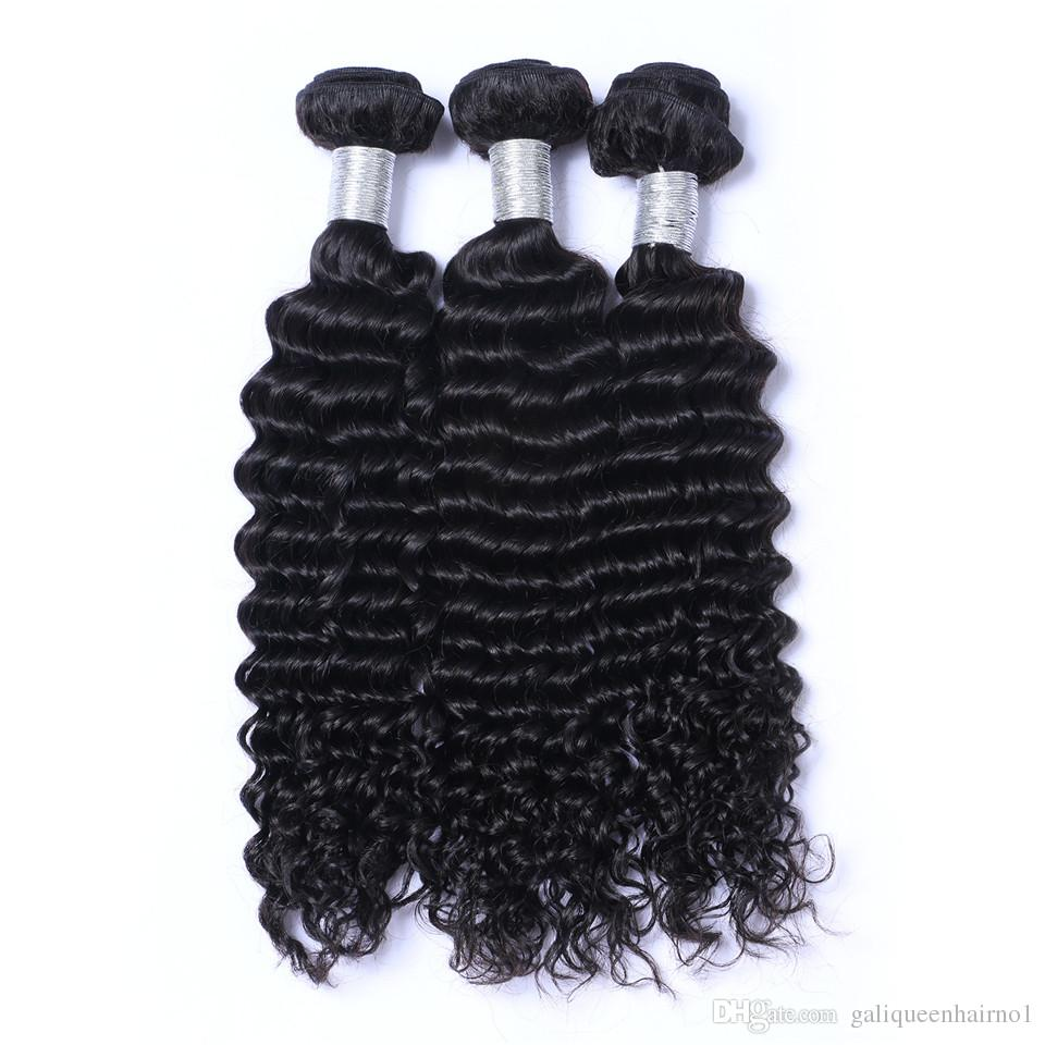 Weaves Brasiliano Onda profonda I capelli vergini Umani Weaves con chiusura a 4x4 Lacci Frontal Bleached Nodi 100G / PC Color Natural Double Wefts Estensioni dei capelli